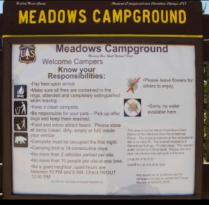 Meadows Campground rules. Note, there is no water. No hookups of any kind. There is a trash hopper as well as vault toilets.