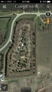 Google Earth view of lakeside campground
