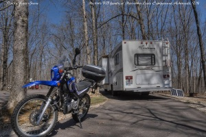 PeeWee--the best little blue motorcycle, ever!--Charlene my RV and Sunny my solar panel settle into site #18 at Meriwether Lewis Campground along the Natchez Trace Parkway outside of Hohenwald, TN