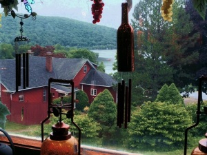 An iPhone grab: Looking out of the window from the second story of Hopkins Winery at toward Lake Waramaug, New Preston, CT