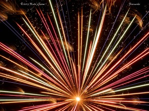 I often like fireworks photos where they spill out of the frame.