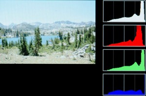 "Consulting the histogram confirms overexposure, especially in the blue channel. Compare it to the histogram of the ""properly"" exposed image above. Much of the graph has been pushed off to the right, out of usable range. Those pixels are ""lost"". They are ruined, too bright, unrecoverable."