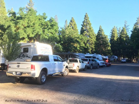 When the campground gets crowded tow vehicles can line up along the roadside.