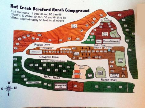 Hat Creek Hereford Ranch & RV Park Campground Map