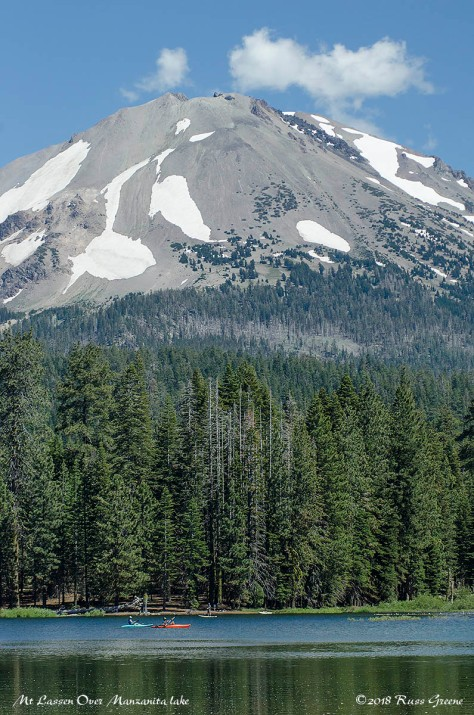 Mount Lassen towers over Manzanita Lake