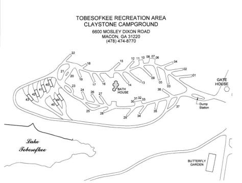 Campsite map of Claystone Park Campground at Lake Tobesofkee, Macon GA
