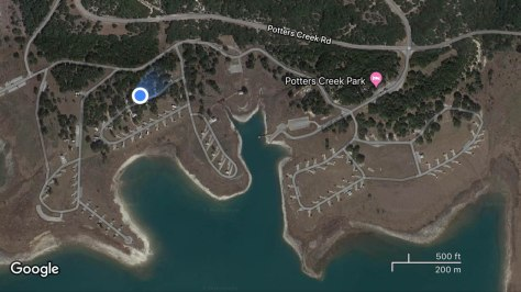 Google Maps satellite view of Potters Creek Park campground.