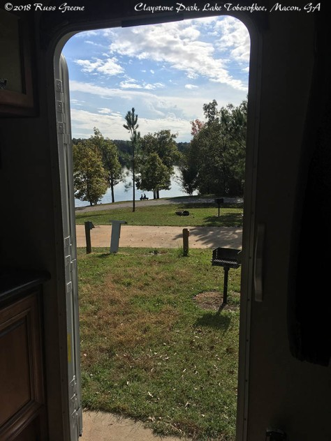 When campsite 43 was empty this was the view out our entry door at Claystone Park, Lake Tobesofkee.