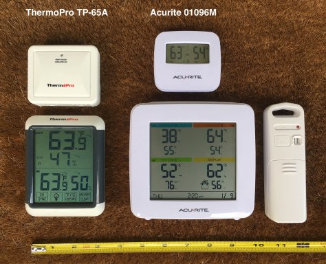 AcuRite and ThermoPro Units side-by-side.