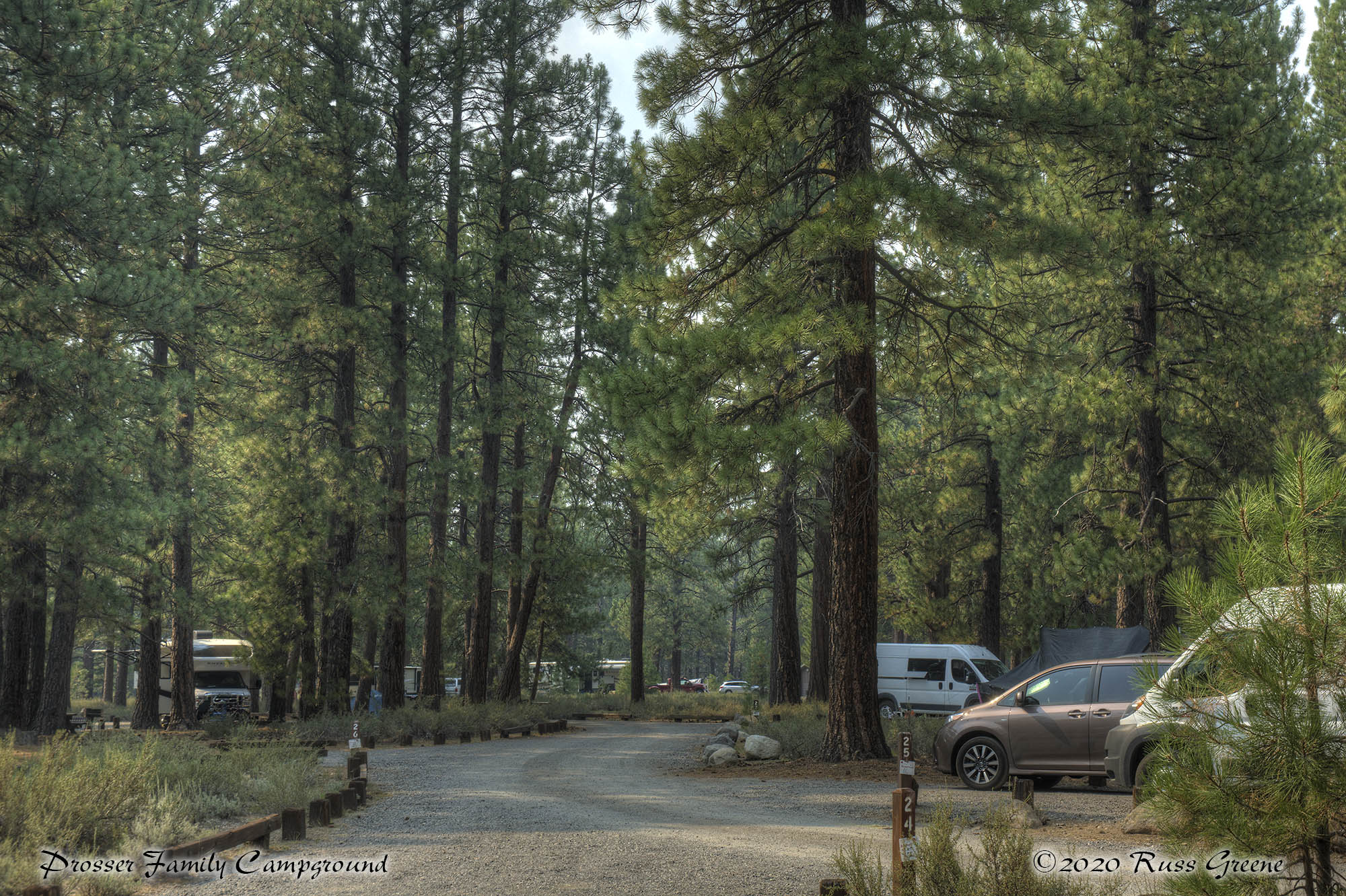A view down the campground from site 23 at Prosser Family Campgound